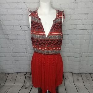 Lucky Brand red tribal print shift dress Sz M
